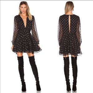 Lovers + Friends Hayley Party Dress in Gold Dot